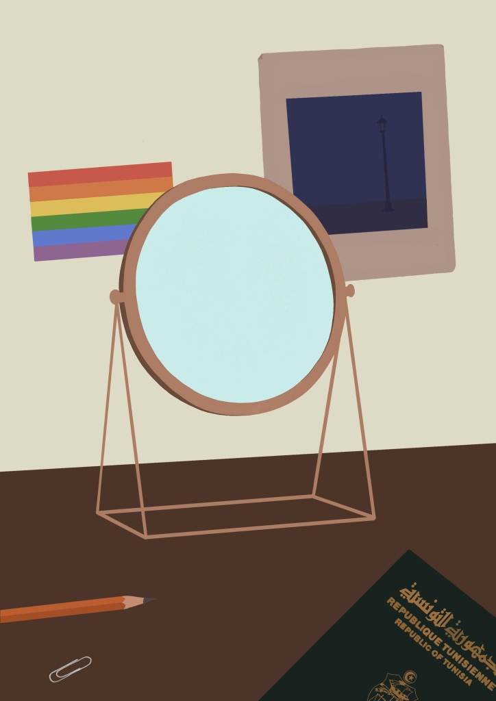 image showing pride flag, picture of lamppost, mirror, and Tunisian passport